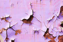 Old Graffity Lilac Paint On Old Rusty Wall