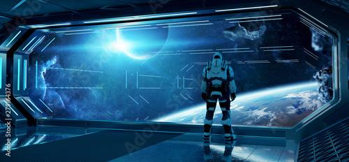 Fényképezés Astronaut in futuristic spaceship watching space through a large window 3d rende