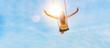 canvas print picture - Frau auf einer Schaukel mit blauem Himmel im Gegenlicht