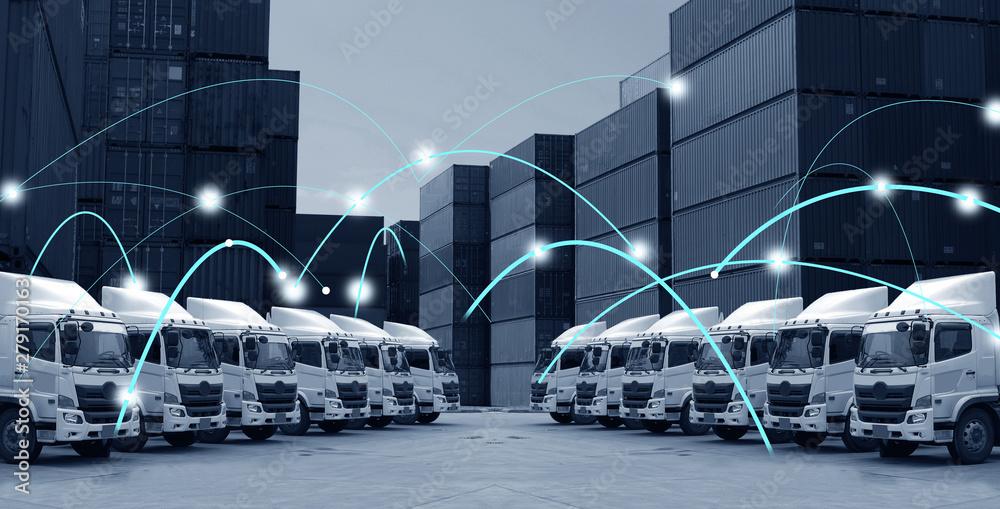 Fototapeta Transportation concept of technology motion background in blue tone.