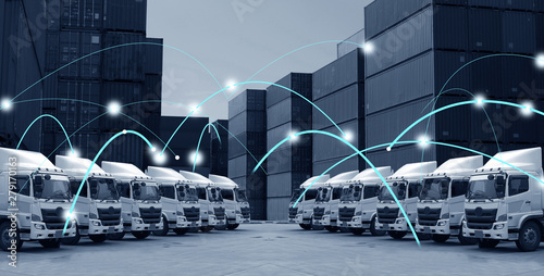 Transportation concept of technology motion background in blue tone. - fototapety na wymiar