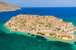 Aerial drone view of the former ancient fortress and leper colony island of Spingalonga on the Greek island of Crete