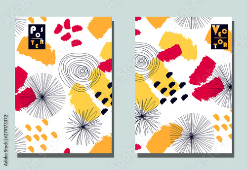 Cover with graphic elements - abstract shapes: circles and lines Wallpaper Mural