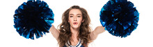 Excited Cheerleader Girl In Blue Uniform Dancing With Pompoms Isolated On White, Panoramic Shot
