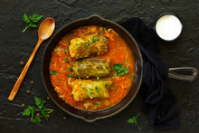 Ukrainian Traditional Dish With Cabbage And Stuffed Cabbage. Selective Focus.