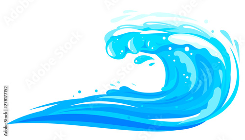 Fotografie, Obraz  One big blue ocean wave in side view isolated illustration in flat style, wonder