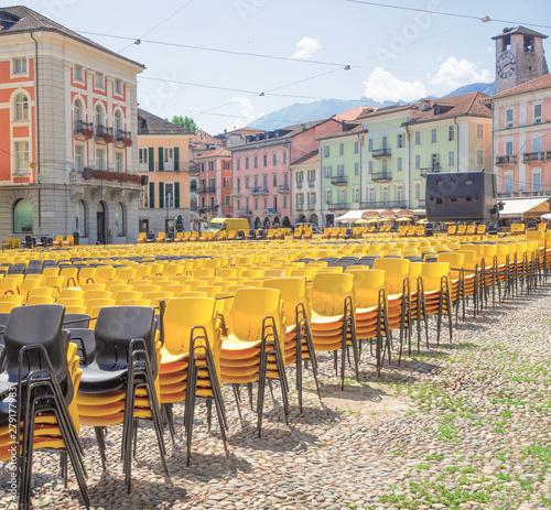 Obraz na plátně Preparations in Grande Square in Locarno for the film festival