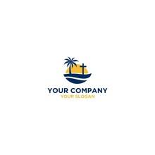Beach Church Logo Design Vector