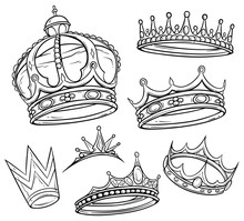 Cartoon Black And White Royal King Crown With Diamonds And Gems. Isolated On White Background. Vector Icon Set.