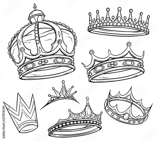Cartoon Black And White Royal King Crown With Diamonds And Gems Isolated On White Background Vector Icon Set Buy This Stock Vector And Explore Similar Vectors At Adobe Stock Adobe Stock Happy birthday cartoon elements set. black and white royal king crown