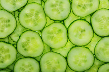 Slices Of Green Fresh Cucumber Backlit As A Textural Background