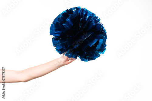 Fotografía cropped view of cheerleader girl holding blue pompom isolated on white