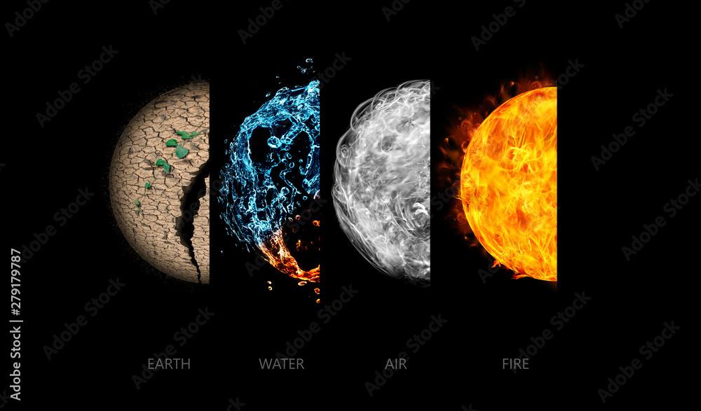 Fototapety, obrazy: Four elements isolated on black.