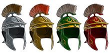 Cartoon Colorful Metal Ancient Roman Soldier Warrior Helmet With Crest. Isolated On White Background. Vector Icon Set.