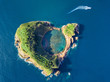 canvas print picture - Azores aerial panoramic view. Top view of Islet of Vila Franca do Campo. Crater of an old underwater volcano. San Miguel island, Azores, Portugal. Heart carved by nature. Bird eye view.