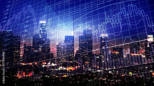 Fototapeta Technological stock exchange chart over night city skyline obraz