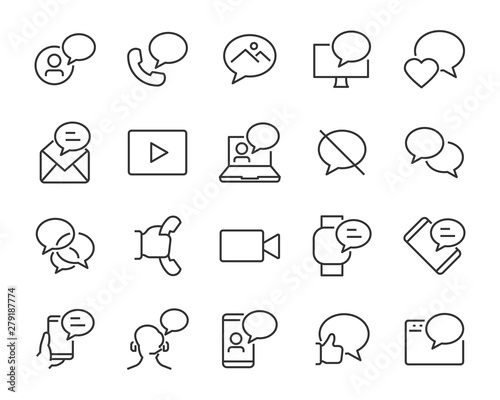 Photo  set of talk bubble icons, such as message, chat, phone, sms, call
