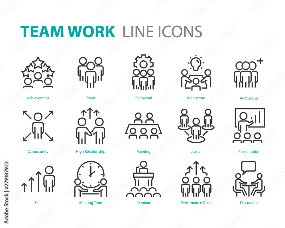 Fototapeta set of people line icons, such as team, meeting, video conference, group, management, leader