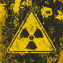 Grunge Poster Radioactive. Vector Illustration Of Triangle Sign Ionizing Radiation On Grunge Dirty Yellow Background. It Can Be Used As A Poster, T-shirts And Other Design Projects.