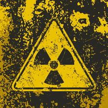 Grunge Poster Radioactive. Vec...