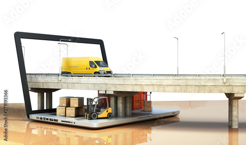Fotografía  fast online delivery concept loader minibus container with boxes are on the lapt