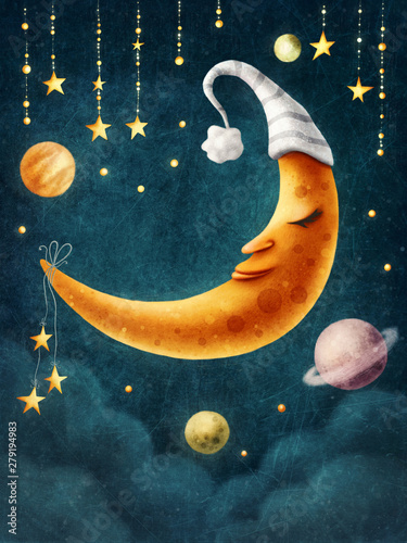 Moon with a sleeping hat Wallpaper Mural
