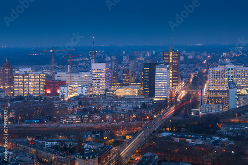 aerial view on the city centre of The Hague at dusk Wallpaper Mural