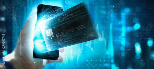 Fotomural  Bargeldlos - Handyzahlung - Kreditkarte