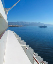 Beautiful View From Cruise Ship At Coast Of Split, Croatia. Landscape In The Morning During The Approach Of The Passenger Liner To The Harbor Of Old European City.