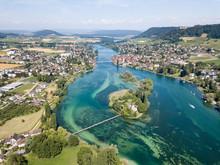 Aerial Drone Photography Of The Beginning Part Of Rhine River At Lake Constance: Islet Werd, Stein Am Rhein, Switzerland.