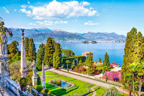 Beautiful Isola Bella island with flower garden on Lake Lago Maggiore in the background of the Alps mountains, Stresa, Italy - 279205344