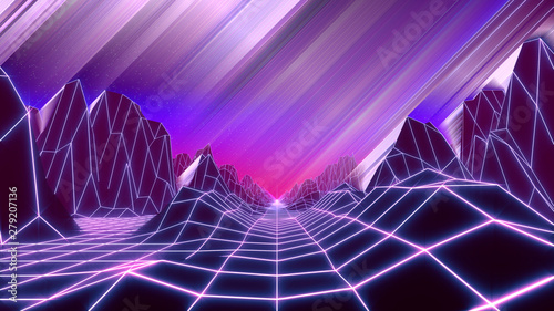Poster Prune 80s retro background 3d render. Retrowave low poly landscape with neon lights