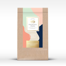 Craft Paper Bag With Pistachios Chocolate Label. Abstract Vector Packaging Design Layout With Realistic Shadows. Modern Typography, Hand Drawn Nut Silhouette And Colorful Background.