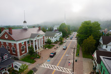 Overall Birds Eye View Of Rural New England Village, Stowe, Vermont, USA