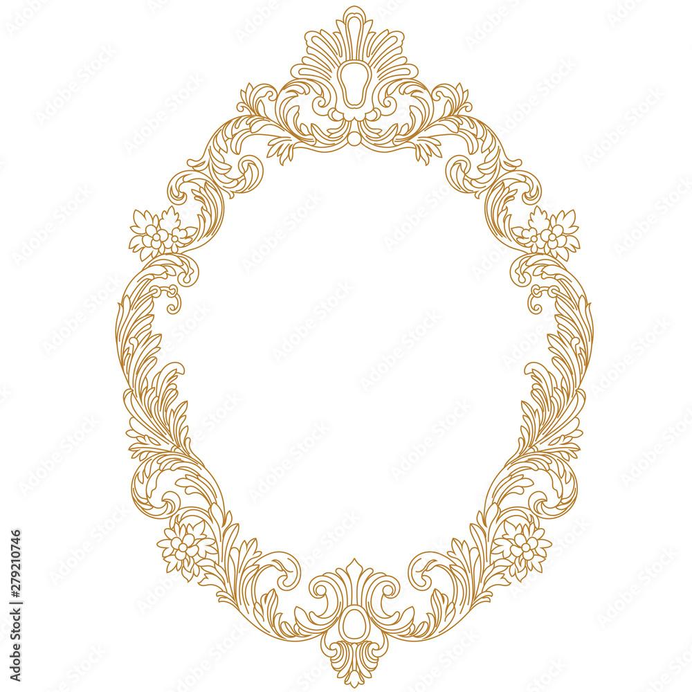 Fototapety, obrazy: Vintage oval pattern frame in old style. Vector.Vintage oval pattern frame in old style. Vector.