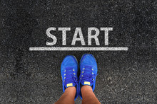 Start. Man With A Shoes Is Sta...