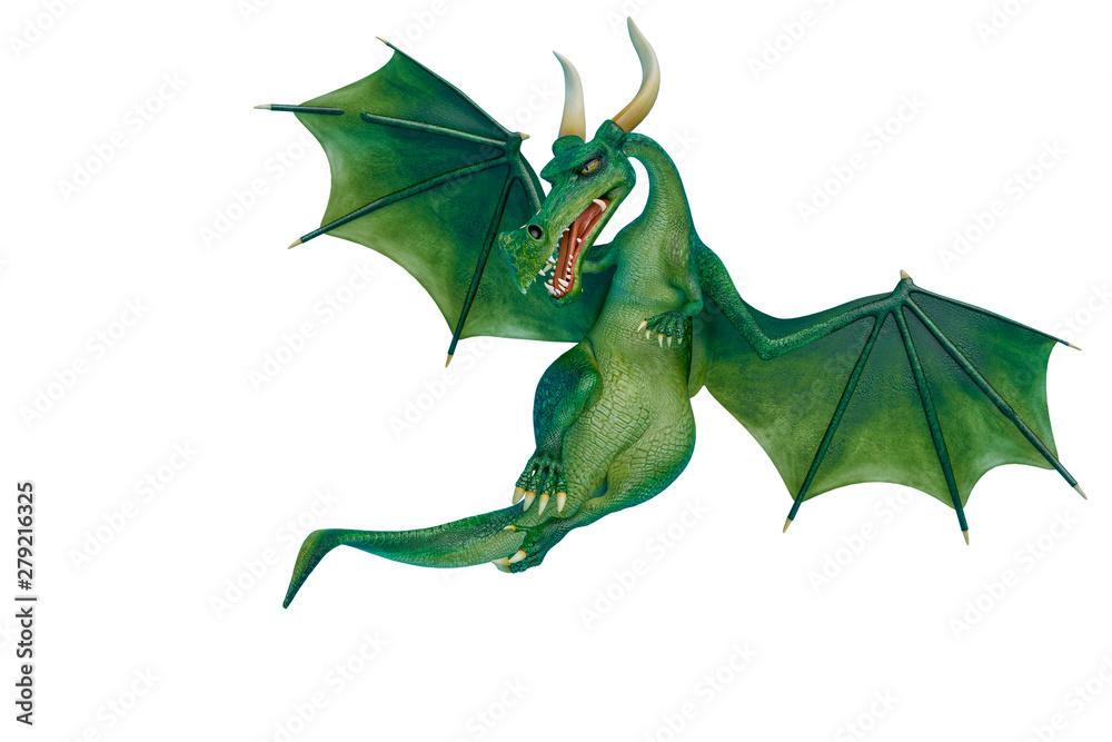 Fototapeta dragon cartoon is watchingn