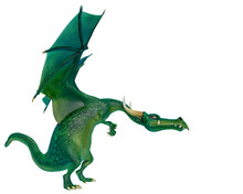Dragon Cartoon Planing Attack Side View