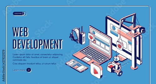 Web development, website construction landing page on retro