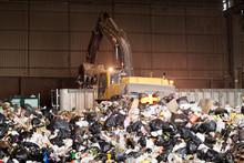 Forklift Gathering Garbage At ...