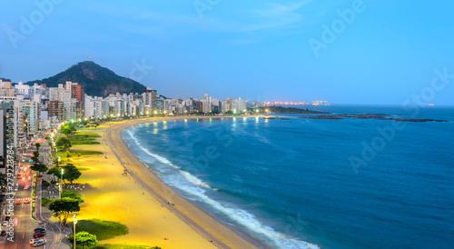 Fotografie, Obraz  The Costa Beach in Vila Velha during the blue hour , Espirito Santo , Brazil