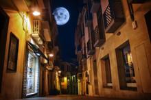 The Moon Illuminates The Sleeping Town.