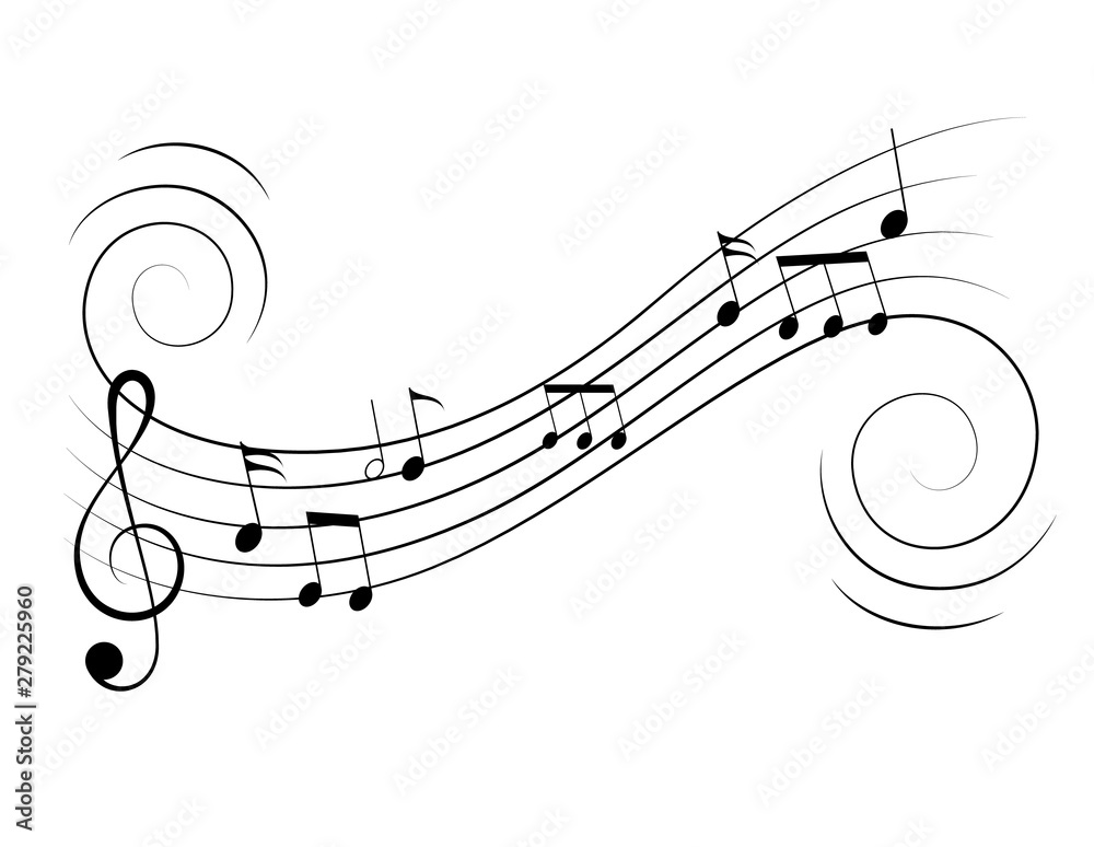 Fototapety, obrazy: Vector music notes treble clef flow on music staff