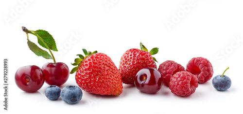 fresh berries on white background - 279228993