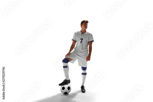 Obraz na plátně Soccer players isolated on white.