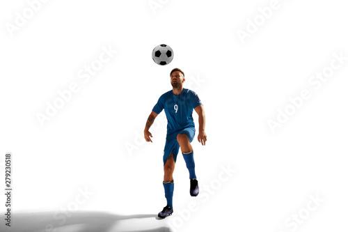 Valokuva Soccer players isolated on white.