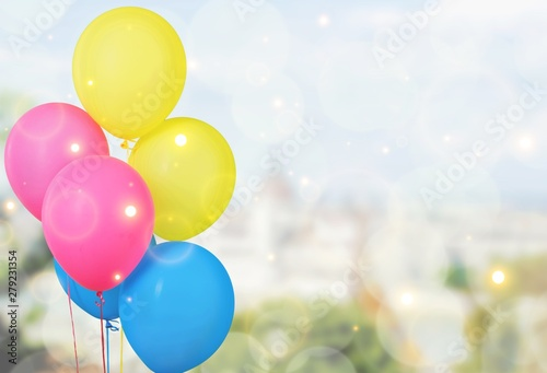 Deurstickers Snelle auto s Bunch of colorful balloons on background