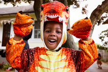 Portrait Of Smiling Boy In Costume During Halloween