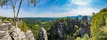 Panorama View On Bastei Bridge In Saxony Sandstone Mountains National Park
