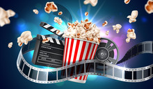 Vector Movie Cinema Poster Flying Popcorn Tape